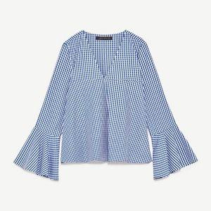 Zara Gingham Long Bell Sleeve V-Neck Top Blouse